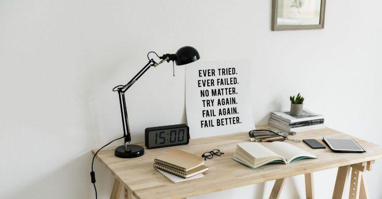 table with a motivational poster